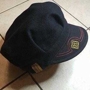 Black Wool Blend Unisex Captain/Conductor Cap
